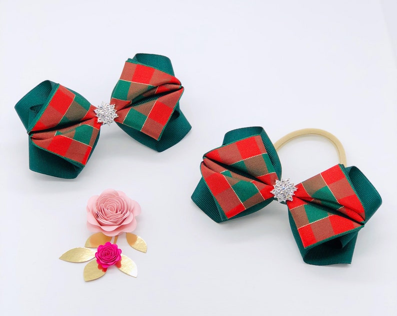 Red Hairbow Silver Holiday Bow Holiday Hair Clips Silver Christmas Bow Satin Bow Headband Bow Red Satin Hair Bow Silver Baby Headband