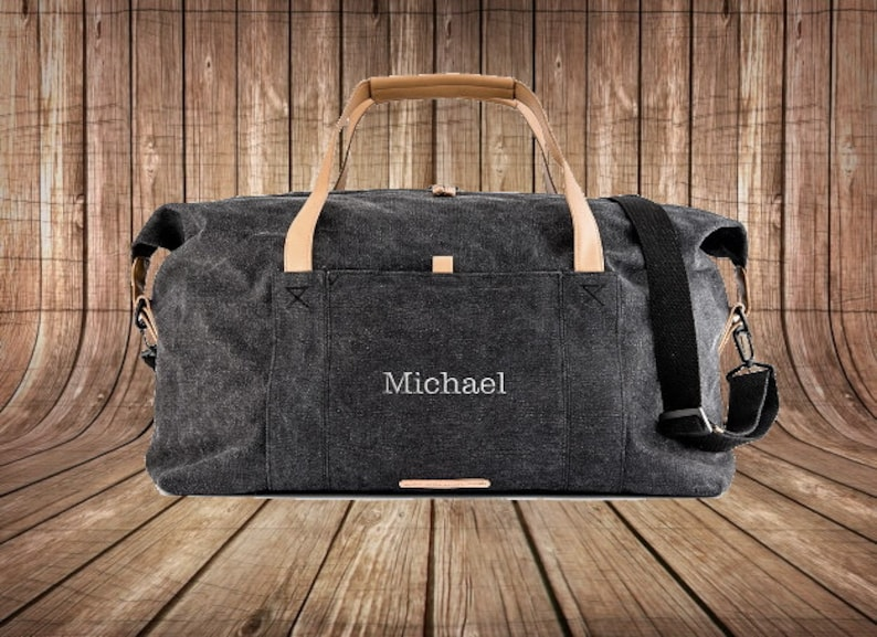 Custom Canvas Duffle Bag  Groomsman Gift   Best Man Gift  image 0