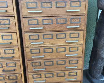 Industrial Artifacts Cabinet/Card Catalog-Wood (Set of Two)