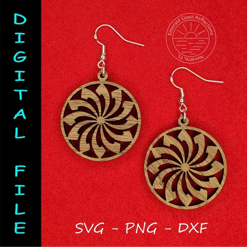 Art Deco Flower Design Circular Shape Earring DIGITAL FILE download