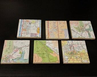 Ceramic map of Vegas square coasters