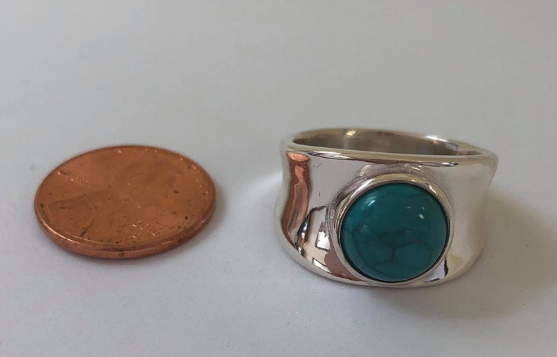 Smooth turquoise ring sterling silver band