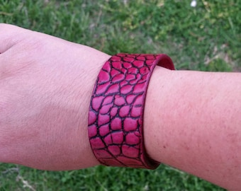 Alligator Embossed Leather Cuff Bracelet