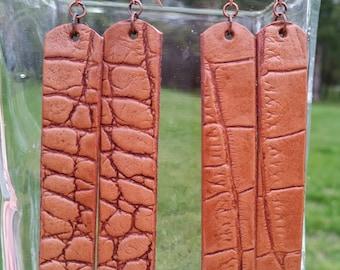 Alligator Embossed Leather Earrings