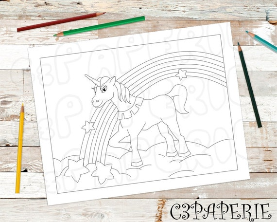 Unicorn Coloring Page Digital Download Kids Coloring Page Etsy