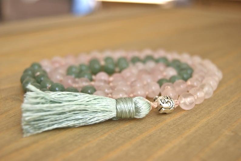 108 bead gemstone meditation mala Rose quartz and green aventurine heart chakra buddha mala with silk tassel boho yoga necklace