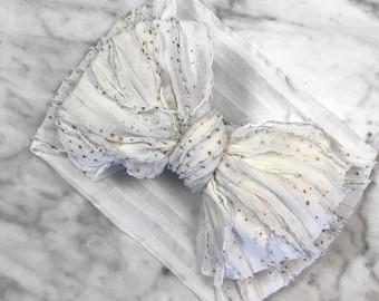 White & Gold Ruffle Wrap