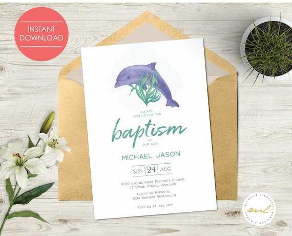 Dolphins Design Wedding  Invitation Package Editable Download