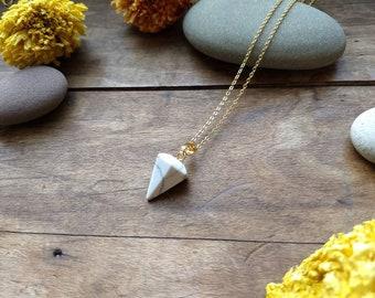White Turquoise Howlite Pendulum Necklace, Pendulum Pendant, Minimalist Necklace, Gold Necklace
