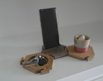 Mix Color Organizer wooden phone stand,Wooden docking station,Phone holder wooden stand , Iphone stand , Samsung Stand , Puzzle Phone Stand