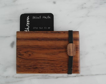 Walnut Wood Wallet, Business Card Case, Wooden Wallet, Minimalist Wallet, Graduation Gift, Office Gift, Credit Card Holder