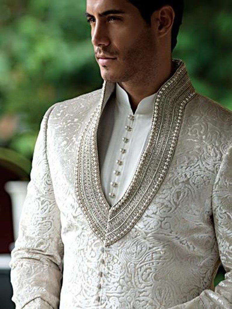 d93dc296cc Men's Suit Bridal Wear Jacquard Silk Hand Work Sherwani   Etsy