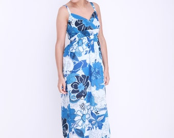 Blue Floral Maxi Summer Dress