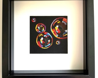 """Original limited edition """"Orange bubbles two"""" frames painting"""