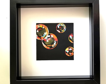 """Original limited edition """"Orange bubbles one"""" framed painting"""