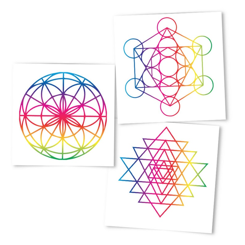 a27b49ed4 Sacred Geometry Collection Temporary Tattoos Rainbow | Etsy