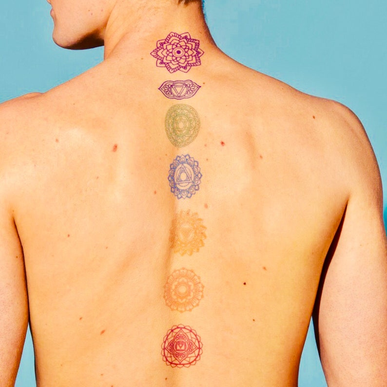 8d21a26f4 Chakras Temporary Tattoos Spiritual tattoo design rainbow | Etsy