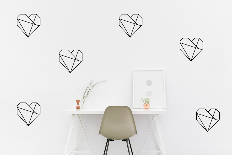 vinyl wall decal // geometric heart wall decal // wall decal | etsy