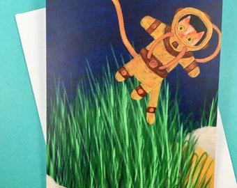 Explorer cat deep sea diving - greetings card