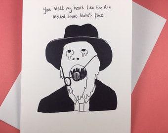 Indiana Jones melting face man greetings card