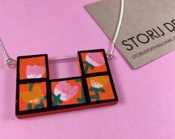 Hand-painted floral Tetris necklace
