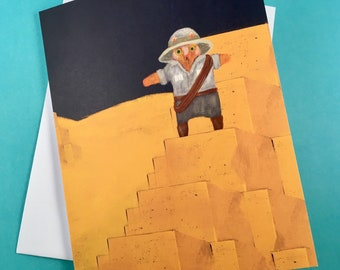 Explorer cat on a pyramid - greetings card