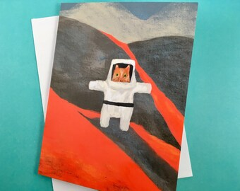 Explorer cat on a volcano - greetings card