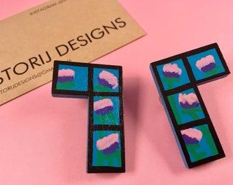 Hand-painted floral Tetris earrings