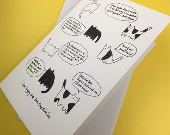 Cats saying stuff from Deep Blue Sea (greetings card)
