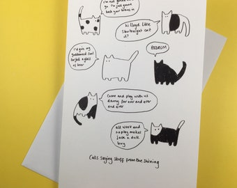 Cats saying stuff from The Shining (greetings card)