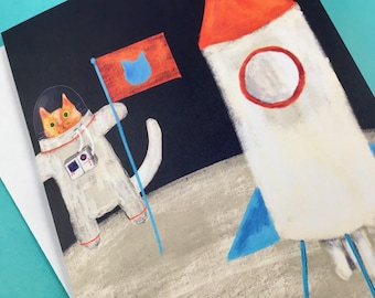 Explorer cat on the moon - greetings card