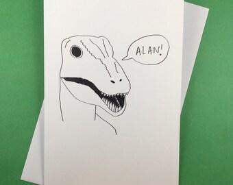 Velociraptor Alan Grant dream greetings card (Jurassic Park)
