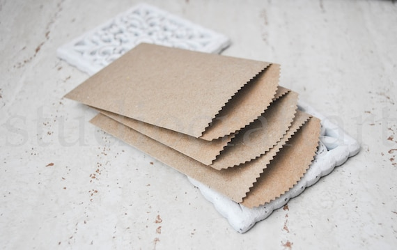 gift card bags candy bags paper packets handmade paper bags wedding party confetti bags 10 small recycled Kraft paper bags