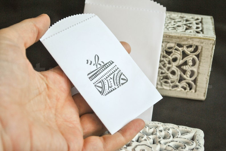 10 small Christmas gift box white paper bags paper packets Christmas paper bags  mini bags candy bags envelopes gift card bags