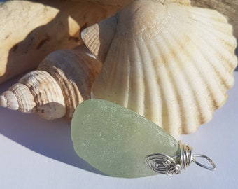 Genuine Seaglass / Beach Glass - Wire wrapped with sterling silver