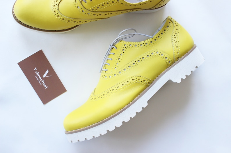 2774fb7789798 Leather yellow brogues women, personalized lace up brogues, leather  oxfords, womens oxford shoes, handmade shoes