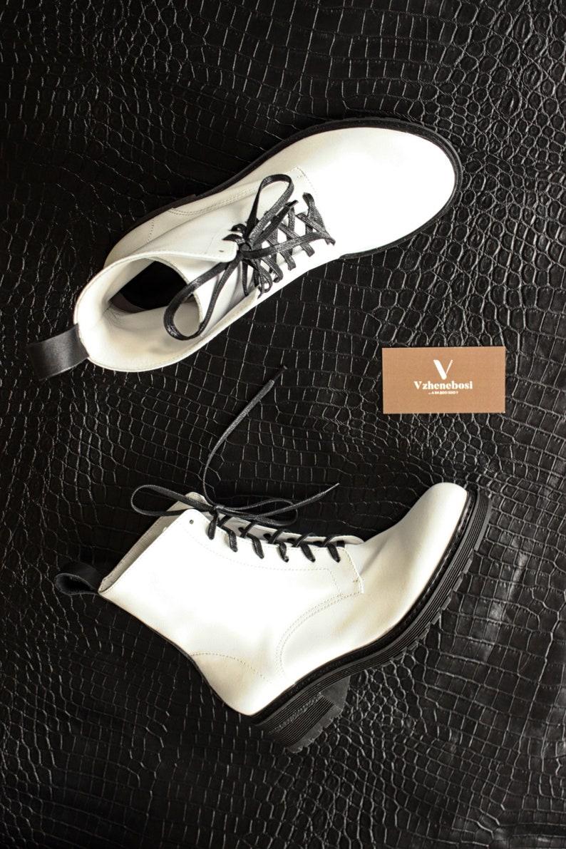 c7252a1ec95ab Bottes blanches personnalisé en cuir femmes lacets en cuir