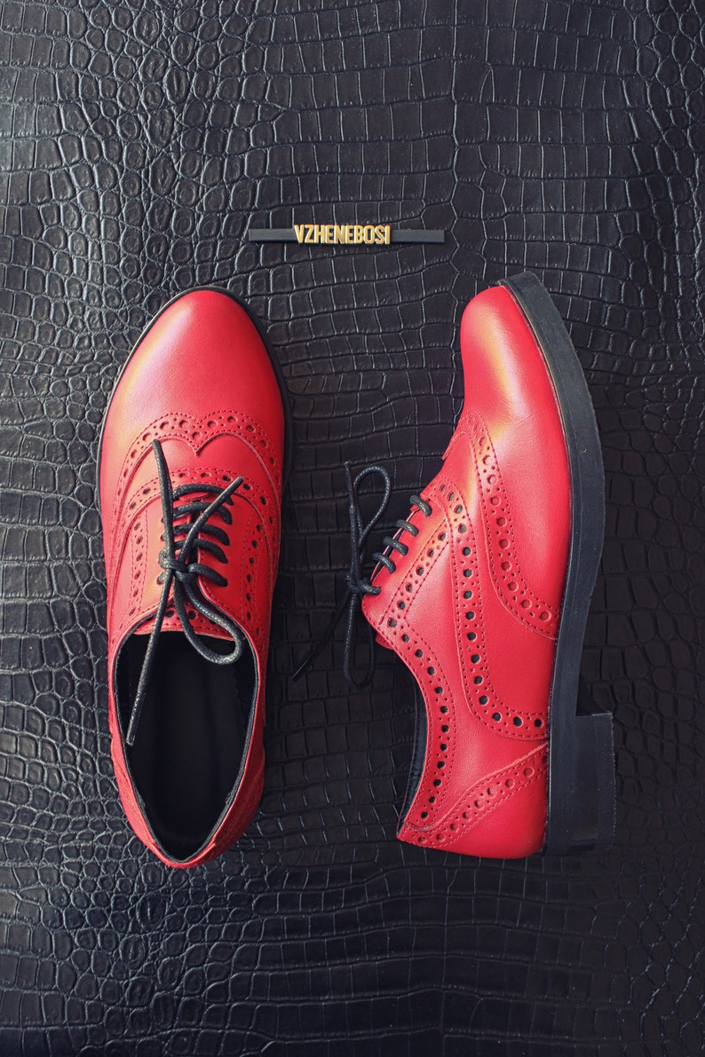 cd9b8c18fec29 Leather red brogues women, personalized lace up brogues, italian leather  oxfords, womens oxford shoes, custom leather oxford, handmade shoes