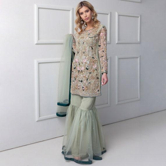 Groene Stardust Pakistaanse kleding kleding Fashion Woman Designer Party Formele Luxe Pret Indiase Lengha Gharara Saree Shalwar Kameez