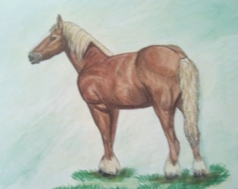Horse painting watercolor and colored pencils