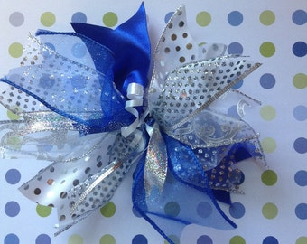 Silver and Blue Gift Bow