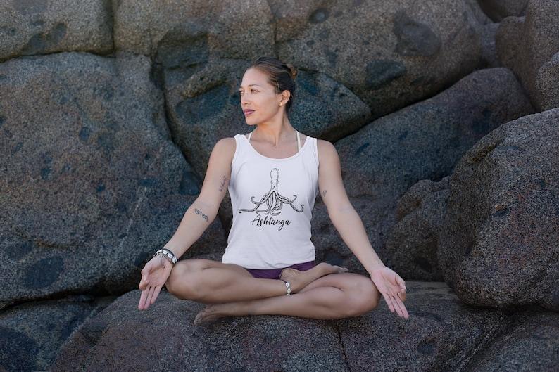 Namaste Yoga Shirt Ashtanga Yoga Muscle Tank with Octopus Graphic Summer Vacay Yoga Shirt Eightfold Path Graphic Tee Spiritual Gift Idea