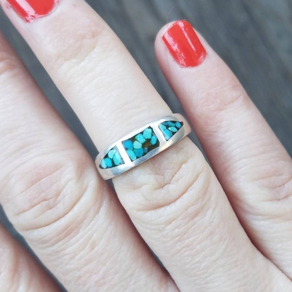 Vintage Old Pawn Native American Turquoise Inlay S