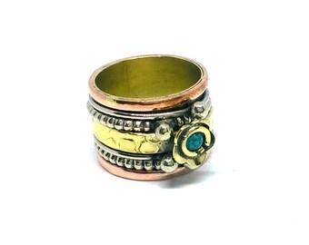 Indian Handmade Ring/ Gold Color Ring / Spinner Ring / Firoza Stone Ring/Multi Metal Ring / Handmade Ring
