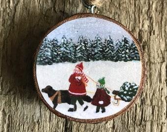 Bringing home the Christmas tree. Childen Ornament- Wooden Ornament- Original Art- Stocking Stuffer- Gift for Sister-