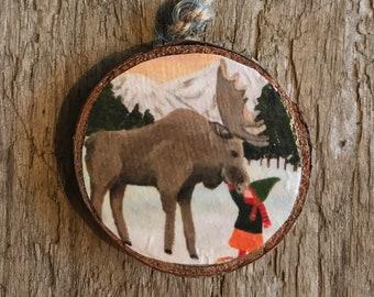 Kissin' a Moose Wooden Ornament- Original Art- Wood Slab Ornament- Canadian Wildlife Ornament- Gift for Animal Lover- Rocky Mountain Scene