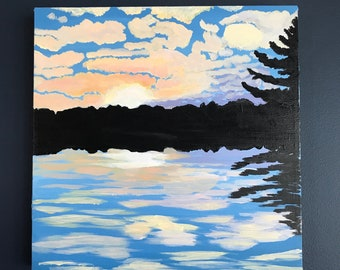 "Sunset Original Acrylic Painting (16""x16"")"