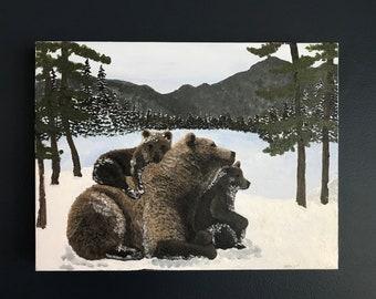 "Mama Bear Original Acrylic Painting (12""x16"")"