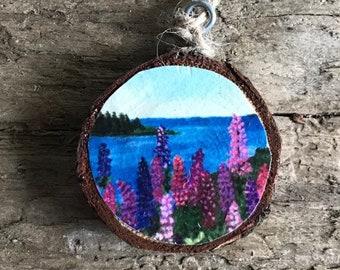 PEI Lupins Ornament- Wooden Ornament- Wood Slab Ornament- Teacher Gift- Stocking Stuffer- Hostess Gift- Painted Ornament- Flower Decoration