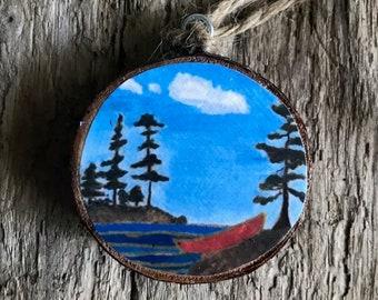 Folk art Canoe Ornament-  Wooden Ornament- Teacher Gift- Stocking Stuffer- Gift for Nature Lover- Original Art- Painted Ornament